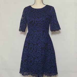 Vince camuto navy blue and black lace dress